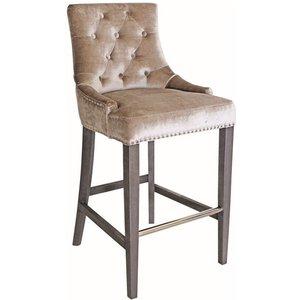 Vida Living Belvedere Champagne Velvet Knockerback Bar Chair, Champagne