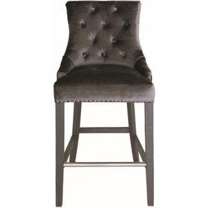 Vida Living Belvedere Knockerback Bar Chair - Charcoal Velvet, Charcoal