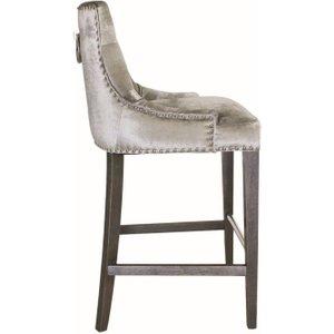 Vida Living Belvedere Knockerback Bar Chair - Pewter Velvet, Pewter