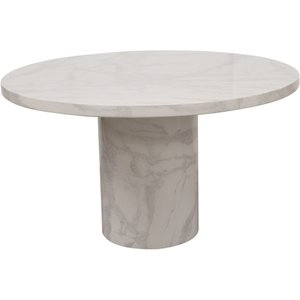 Vida Living Carra Bone White Marble Dining Table, Bone White Gloss Finish with Natural Marble Patterns