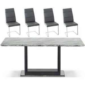 Vida Living Donatella 160cm Grey Marble Dining Table And Malibu Grey Faux Leather Dining C, <Strong>Table</Strong> : Grey and High Gloss<br><Strong>Chair</Strong> : Grey and Chrome