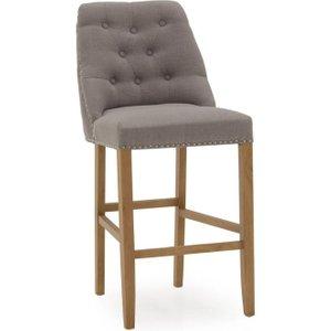 Vida Living Eldridge Grey Linen Fabric Bar Chair, Grey