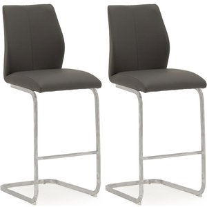 Vida Living Elis Grey Faux Leather And Chrome Bar Chair (pair), Grey and Chrome