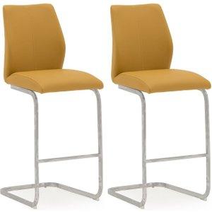 Vida Living Elis Pumpkin Faux Leather Bar Chair (pair), Pumpkin and Chrome