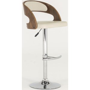 Vida Living Flair Ivory Faux Leather Bar Chair, Ivory and Walnut