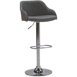 Vida Living Fossil Grey Faux Leather Bar Chair With Gas Lift, Grey