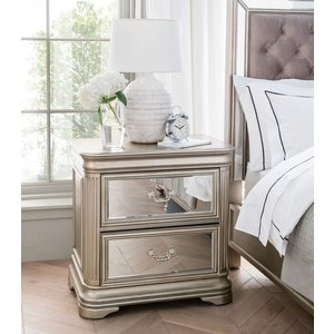 Vida Living Jessica Champagne Mirrored Bedside Cabinet, Taupe