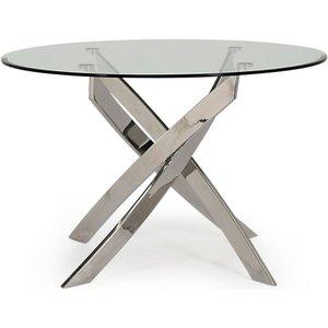 Vida Living Kalmar 110cm Glass And Chrome Round Dining Table, Silver