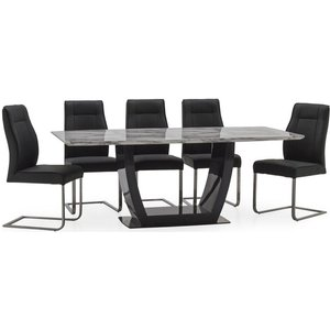 Vida Living Luciana 160cm Grey Marble Dining Table And 6 Charcoal Leather Chairs, Grey and High Gloss