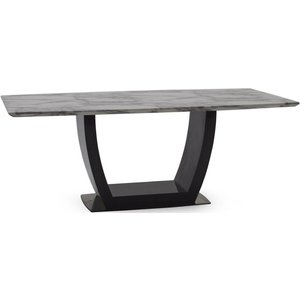 Vida Living Luciana 200cm Grey Marble Dining Table, Grey and High Gloss