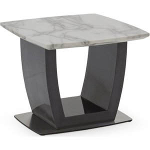 Vida Living Luciana Grey Marble End Table, Grey and High Gloss