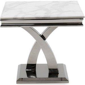 Vida Living Ottavia Bone White Marble Lamp Table