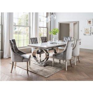 Vida Living Selene 200cm Bone White Marble Dining Table, Bone White and Chrome