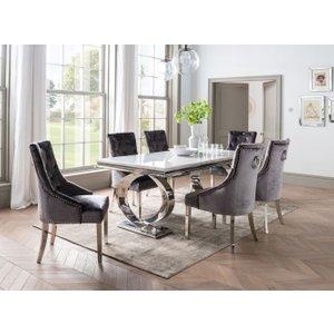 Vida Living Selene Bone White Marble Dining Table And Chairs - Chrome And Charcoal Velvet, White