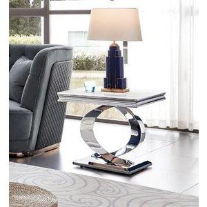 Vida Living Selene Bone White Marble Lamp Table