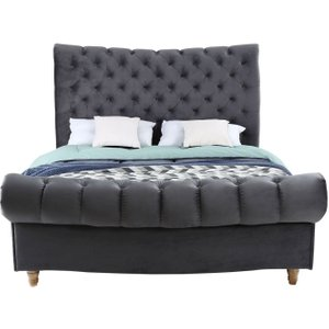 Vida Living Sloane Grey Velvet Bed, Grey