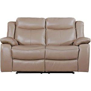 Vida Living Torretta Taupe Leather 2 Seater Recliner Sofa, Taupe