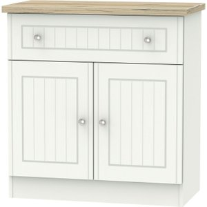 Welcome Furniture Vienna 2 Door 1 Drawer Narrow Sideboard - Porcelain Ash And Bordeaux Oak