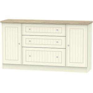 Welcome Furniture Vienna 2 Door 3 Drawer Wide Sideboard - Cream Ash And Bordeaux Oak