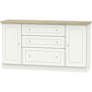 Welcome Furniture Vienna 2 Door 3 Drawer Wide Sideboard - Porcelain Ash And Bordeaux Oak