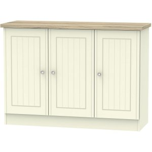 Welcome Furniture Vienna 3 Door Narrow Sideboard - Cream Ash And Bordeaux Oak