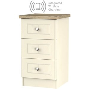 Welcome Furniture Vienna Cream Ash 3 Drawer Bedside Cabinet With Integrated Wireless Charging, Cream Ash