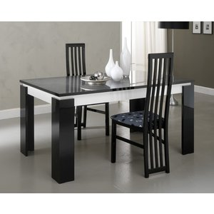 Sicily Designs Vita Luxury Black And White Italian Extending Dining Table And 4 Chair, Black and White