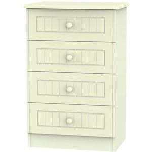 Welcome Furniture Warwick Cream 4 Drawer Midi Chest, Cream