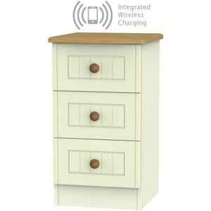 Welcome Furniture Warwick Cream And Oak 3 Drawer Bedside Cabinet With Integrated Wireless Charging, Cream and Oak