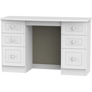 Welcome Furniture Warwick White Dressing Table - Knee Hole Double Pedestal, white
