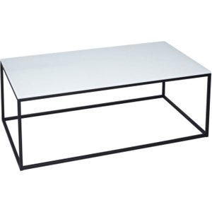 Space London Westminster White Glass Rectangular Coffee Table With Black Base