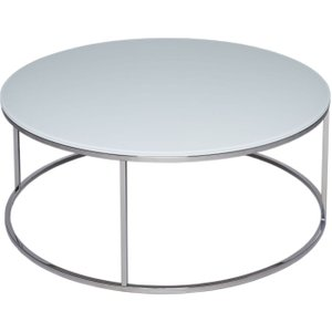 Space London Westminster White Glass Round Coffee Table With Polished Steel Base, white