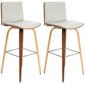 Premier Housewares White Faux Leather Bar Chair (pair), White