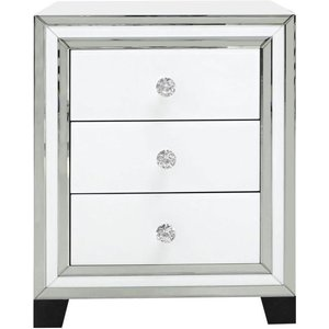 Deco Home White Montague Mirrored Bedside Cabinet, White and Mirrored