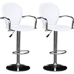 Premier Housewares White Pvc Swivel Bar Chair (pair), White and Chrome