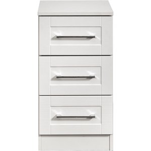 Welcome Furniture York White Ash 3 Drawer Bedside Cabinet, White Ash