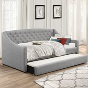 Cuckooland Aurora Upholstered Day Bed In Grey By Flair - Seconds Clearance Stock Ffaudb Beds