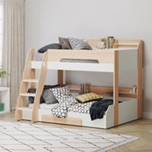 Flair Furniture Flick Triple Bunk Bed In Oak By Flair Furnishings Ff993o Beds