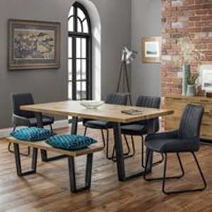 Julian Bowen Brooklyn Dining Set With 4 Soho Chairs & Bench Bro106 Tables