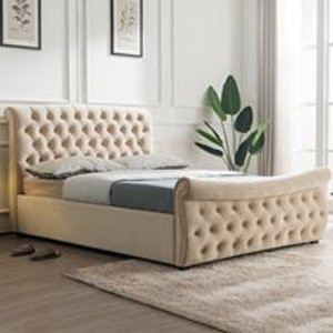 Flair Furniture Lucinda Upholstered Side Ottoman Bed By Flair Furnishings - Double Fflc16 Beds