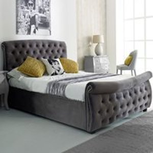 Flair Furniture Lucinda Upholstered Side Ottoman Bed In Silver By Flair Furnishings Ffls86 Beds
