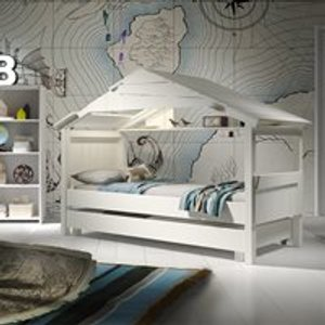 Mathy By Bols Star Treehouse Single Cabin Bed With Optional Trundle Drawer - Mathy Mole Cab Lit Star 90f So Mole Beds