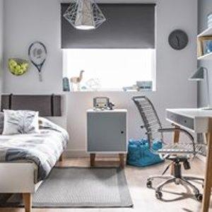 Vox Concept Bedside Cabinet In White & Blue 5020014 Tables