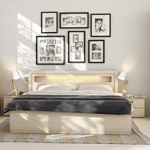 Vox R&o Bed Frame With Built In Lights In Beech Effect - Double 5010340+6013605 Beds