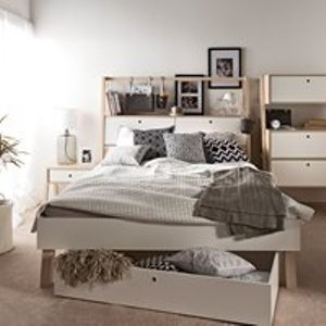Vox Spot Bed With Cabinet Headboard In White & Acacia 5010617 Beds