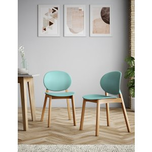 Loft Set Of 2 Curved Back Dining Chairs Duck Egg T659789f, Duck Egg