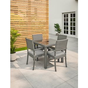 M&s Marlow Grey Garden Table & Set Of 4 Chairs T659200c, Grey