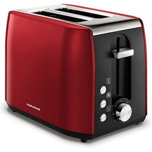 Morphy Richards Equip Red Stainless Steel 2 Slice Toaster 222060 Toasters