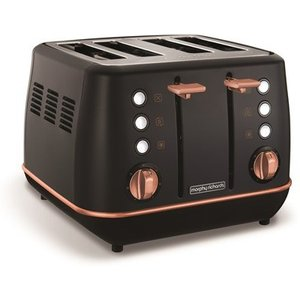 Morphy Richards Evoke Rose Gold And Black Special Edition 4 Slice Toaster 240114 Toasters