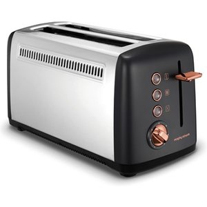 Morphy Richards Rose Gold Collection Black 4 Slice Long Slot Toaster 245036 Toasters